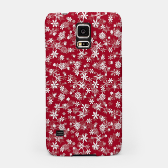 Miniatur Festive Jester Red and White Christmas Holiday Snowflakes Samsung Case, Live Heroes