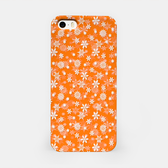 Miniatur Festive Turmeric Orange and White Christmas Holiday Snowflakes iPhone Case, Live Heroes
