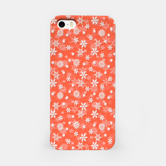 Imagen en miniatura de Festive Living Coral Orange Pink and White Christmas Holiday Snowflakes iPhone Case, Live Heroes