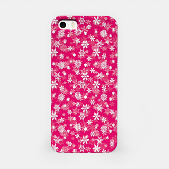Imagen en miniatura de Festive Peacock Pink and White Christmas Holiday Snowflakes iPhone Case, Live Heroes