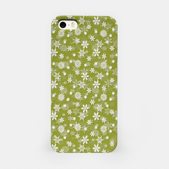 Imagen en miniatura de Festive Pepper Stem Green and White Christmas Holiday Snowflakes iPhone Case, Live Heroes
