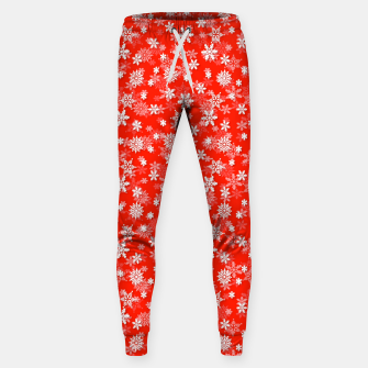 Miniatur Festive Fiesta Red and White Christmas Holiday Snowflakes Sweatpants, Live Heroes