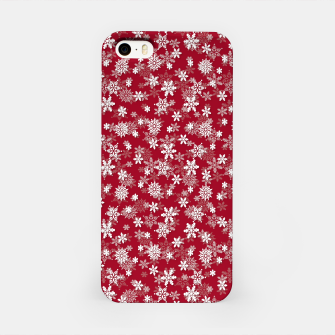 Imagen en miniatura de Festive Jester Red and White Christmas Holiday Snowflakes iPhone Case, Live Heroes