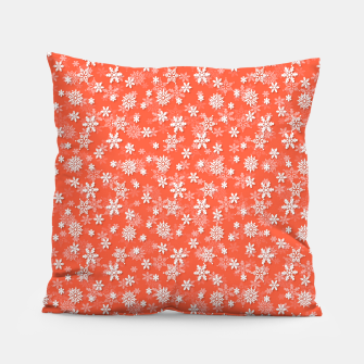 Miniatur Festive Living Coral Orange Pink and White Christmas Holiday Snowflakes Pillow, Live Heroes