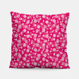 Miniatur Festive Peacock Pink and White Christmas Holiday Snowflakes Pillow, Live Heroes
