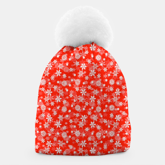 Miniatur Festive Fiesta Red and White Christmas Holiday Snowflakes Beanie, Live Heroes