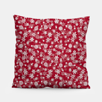 Miniatur Festive Jester Red and White Christmas Holiday Snowflakes Pillow, Live Heroes