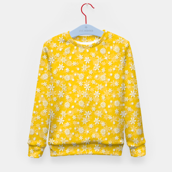 Miniatur Festive Yellow Aspen Gold and White Christmas Holiday Snowflakes Kid's sweater, Live Heroes