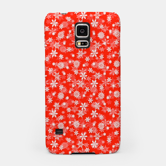 Miniatur Festive Fiesta Red and White Christmas Holiday Snowflakes Samsung Case, Live Heroes