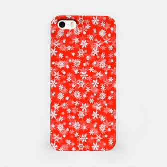 Imagen en miniatura de Festive Fiesta Red and White Christmas Holiday Snowflakes iPhone Case, Live Heroes