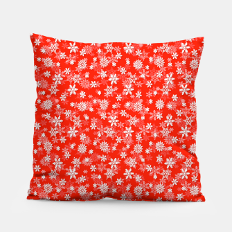 Miniatur Festive Fiesta Red and White Christmas Holiday Snowflakes Pillow, Live Heroes
