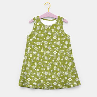 Miniatur Festive Pepper Stem Green and White Christmas Holiday Snowflakes Girl's summer dress, Live Heroes