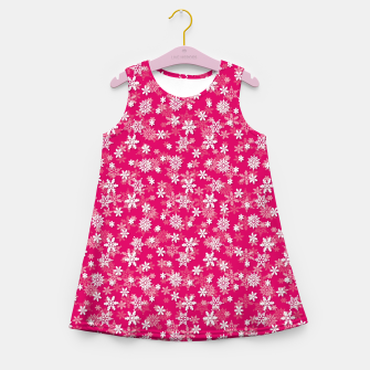 Miniatur Festive Peacock Pink and White Christmas Holiday Snowflakes Girl's summer dress, Live Heroes