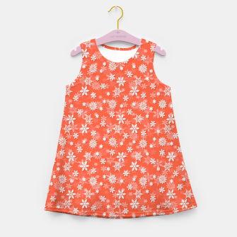 Miniatur Festive Living Coral Orange Pink and White Christmas Holiday Snowflakes Girl's summer dress, Live Heroes