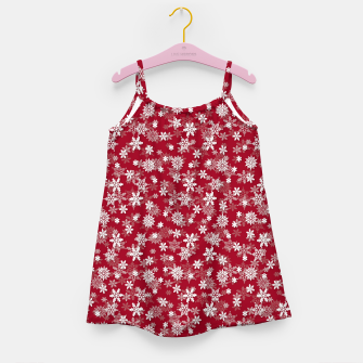 Miniatur Festive Jester Red and White Christmas Holiday Snowflakes Girl's dress, Live Heroes