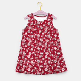 Miniatur Festive Jester Red and White Christmas Holiday Snowflakes Girl's summer dress, Live Heroes