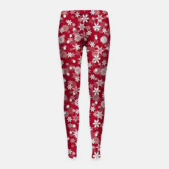Miniatur Festive Jester Red and White Christmas Holiday Snowflakes Girl's leggings, Live Heroes