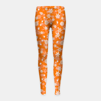 Miniatur Festive Turmeric Orange and White Christmas Holiday Snowflakes Girl's leggings, Live Heroes