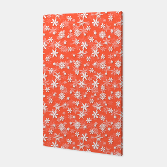 Miniatur Festive Living Coral Orange Pink and White Christmas Holiday Snowflakes Canvas, Live Heroes
