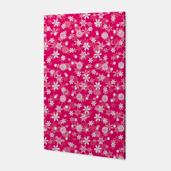 Miniatur Festive Peacock Pink and White Christmas Holiday Snowflakes Canvas, Live Heroes