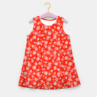 Miniatur Festive Fiesta Red and White Christmas Holiday Snowflakes Girl's summer dress, Live Heroes