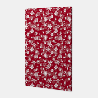 Miniatur Festive Jester Red and White Christmas Holiday Snowflakes Canvas, Live Heroes