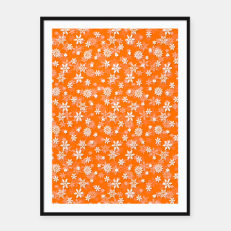 Imagen en miniatura de Festive Turmeric Orange and White Christmas Holiday Snowflakes Framed poster, Live Heroes