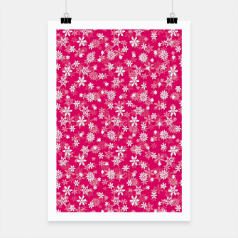 Miniatur Festive Peacock Pink and White Christmas Holiday Snowflakes Poster, Live Heroes