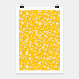 Miniatur Festive Yellow Aspen Gold and White Christmas Holiday Snowflakes Poster, Live Heroes