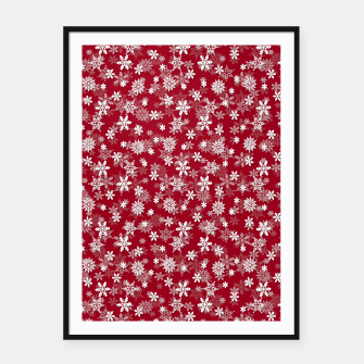 Imagen en miniatura de Festive Jester Red and White Christmas Holiday Snowflakes Framed poster, Live Heroes
