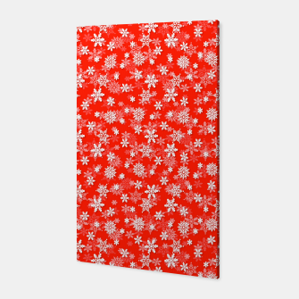 Miniatur Festive Fiesta Red and White Christmas Holiday Snowflakes Canvas, Live Heroes
