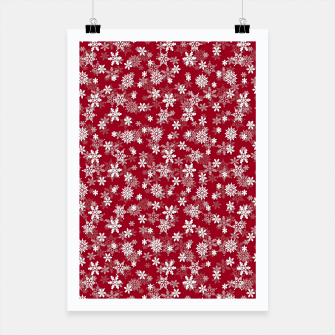 Miniatur Festive Jester Red and White Christmas Holiday Snowflakes Poster, Live Heroes