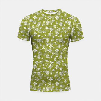 Miniatur Festive Pepper Stem Green and White Christmas Holiday Snowflakes Shortsleeve rashguard, Live Heroes