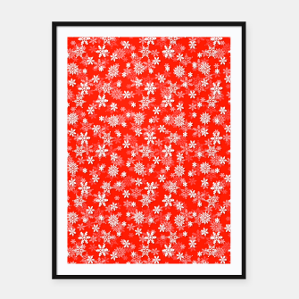 Imagen en miniatura de Festive Fiesta Red and White Christmas Holiday Snowflakes Framed poster, Live Heroes