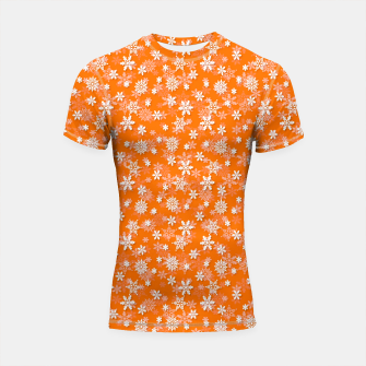 Miniatur Festive Turmeric Orange and White Christmas Holiday Snowflakes Shortsleeve rashguard, Live Heroes