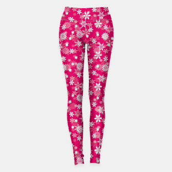 Miniatur Festive Peacock Pink and White Christmas Holiday Snowflakes Leggings, Live Heroes