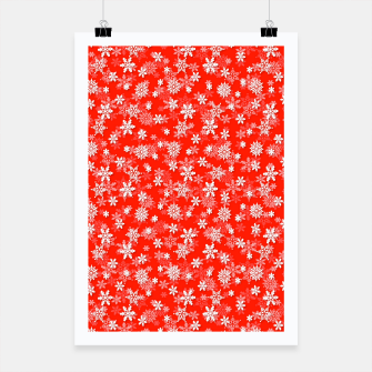 Miniatur Festive Fiesta Red and White Christmas Holiday Snowflakes Poster, Live Heroes