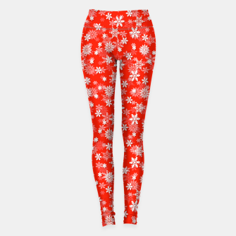 Miniatur Festive Fiesta Red and White Christmas Holiday Snowflakes Leggings, Live Heroes