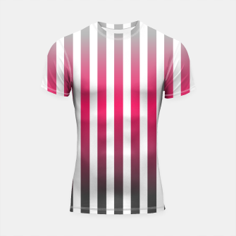 Thumbnail image of Vertical pinstripes in warm color scheme Shortsleeve rashguard, Live Heroes