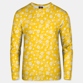 Miniatur Festive Yellow Aspen Gold and White Christmas Holiday Snowflakes Unisex sweater, Live Heroes