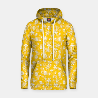 Miniatur Festive Yellow Aspen Gold and White Christmas Holiday Snowflakes Hoodie, Live Heroes