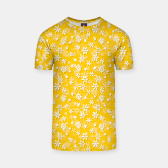 Miniatur Festive Yellow Aspen Gold and White Christmas Holiday Snowflakes T-shirt, Live Heroes