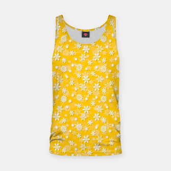 Miniatur Festive Yellow Aspen Gold and White Christmas Holiday Snowflakes Tank Top, Live Heroes