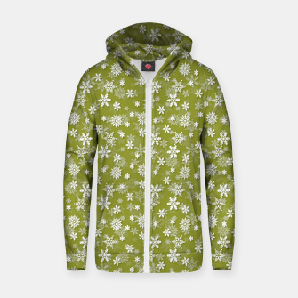 Miniatur Festive Pepper Stem Green and White Christmas Holiday Snowflakes Zip up hoodie, Live Heroes