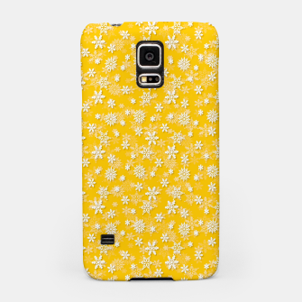 Miniatur Festive Yellow Aspen Gold and White Christmas Holiday Snowflakes Samsung Case, Live Heroes