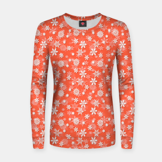 Miniatur Festive Living Coral Orange Pink and White Christmas Holiday Snowflakes Women sweater, Live Heroes