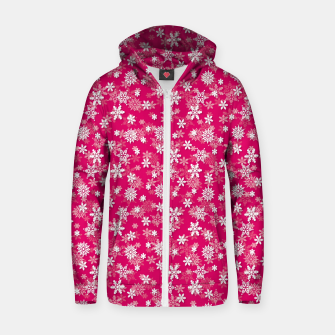 Miniatur Festive Peacock Pink and White Christmas Holiday Snowflakes Zip up hoodie, Live Heroes