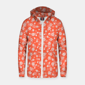 Miniatur Festive Living Coral Orange Pink and White Christmas Holiday Snowflakes Zip up hoodie, Live Heroes