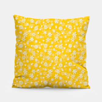 Miniatur Festive Yellow Aspen Gold and White Christmas Holiday Snowflakes Pillow, Live Heroes