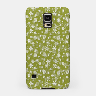 Miniatur Festive Pepper Stem Green and White Christmas Holiday Snowflakes Samsung Case, Live Heroes